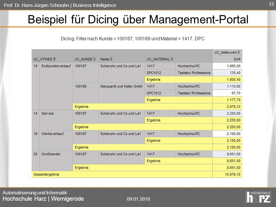 Prof. Dr. Hans-Jürgen Scheruhn   Business Intelligence Automatisierung und Informatik Hochschule Harz   Wernigerode 09.01.2010 12 Beispiel für Dicing