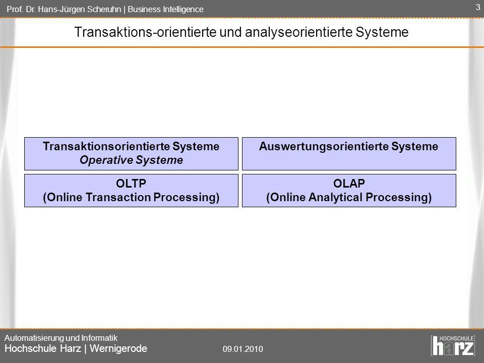 Prof. Dr. Hans-Jürgen Scheruhn   Business Intelligence Automatisierung und Informatik Hochschule Harz   Wernigerode 09.01.2010 3 Transaktionsorientier