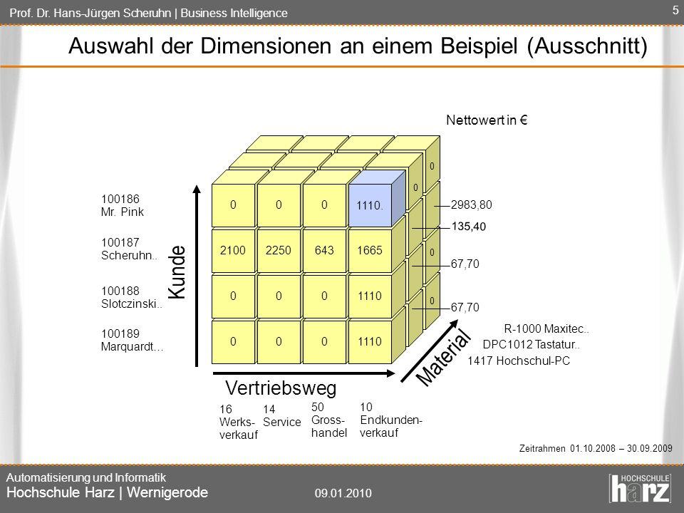 Prof. Dr. Hans-Jürgen Scheruhn   Business Intelligence Automatisierung und Informatik Hochschule Harz   Wernigerode 09.01.2010 5 Auswahl der Dimension