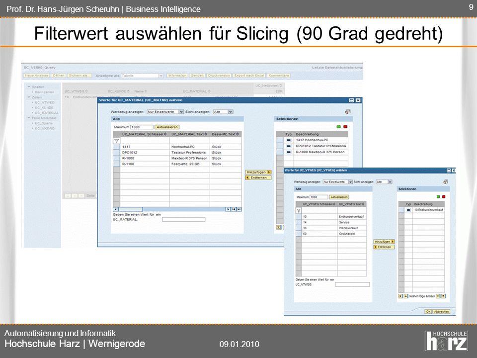 Prof. Dr. Hans-Jürgen Scheruhn   Business Intelligence Automatisierung und Informatik Hochschule Harz   Wernigerode 09.01.2010 9 Filterwert auswählen