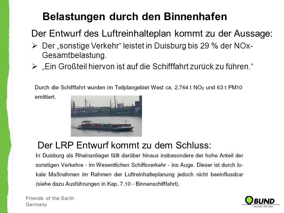 Friends of the Earth Germany Belastungen durch den Binnenhafen Der Entwurf des Luftreinhalteplan kommt zu der Aussage: Der sonstige Verkehr leistet in