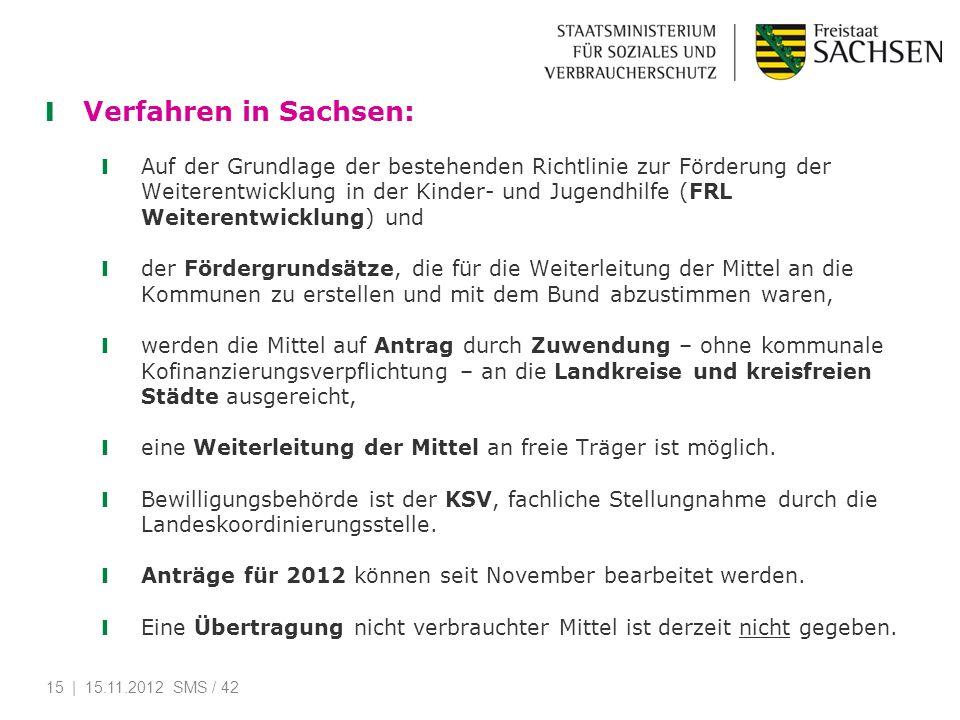 Verfahren in Sachsen: Auf der Grundlage der bestehenden Richtlinie zur Förderung der Weiterentwicklung in der Kinder- und Jugendhilfe (FRL Weiterentwi