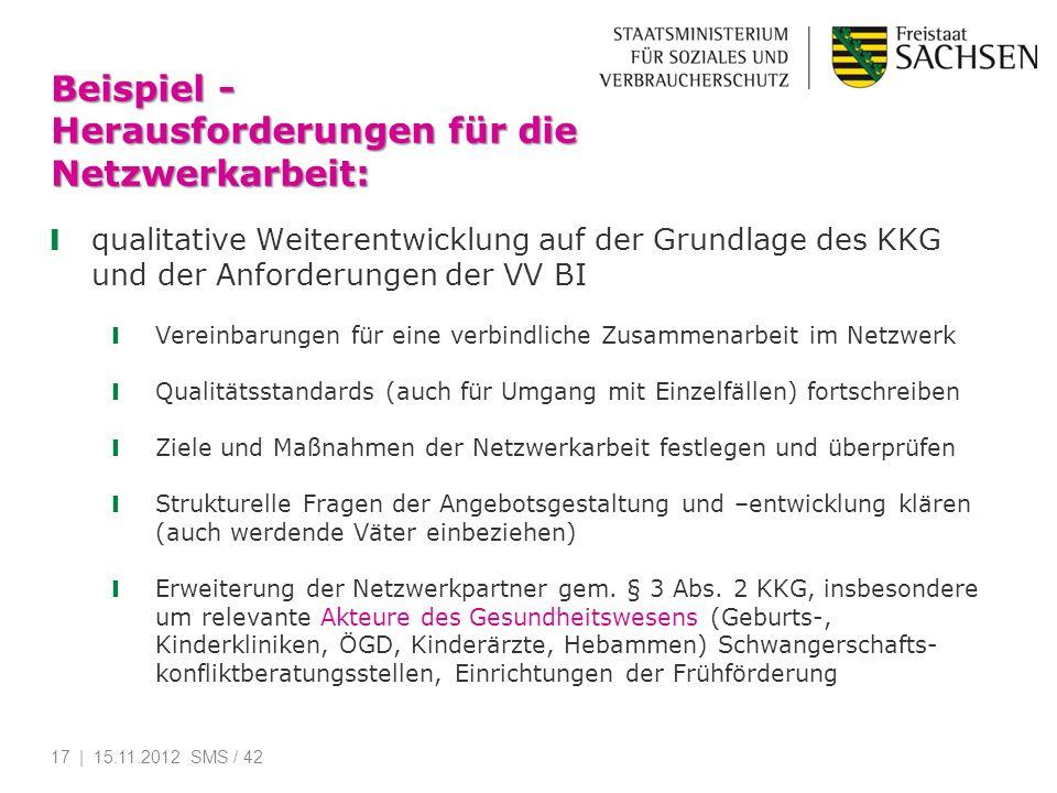 Beispiel - Herausforderungen für die Netzwerkarbeit: qualitative Weiterentwicklung auf der Grundlage des KKG und der Anforderungen der VV BI Vereinbar