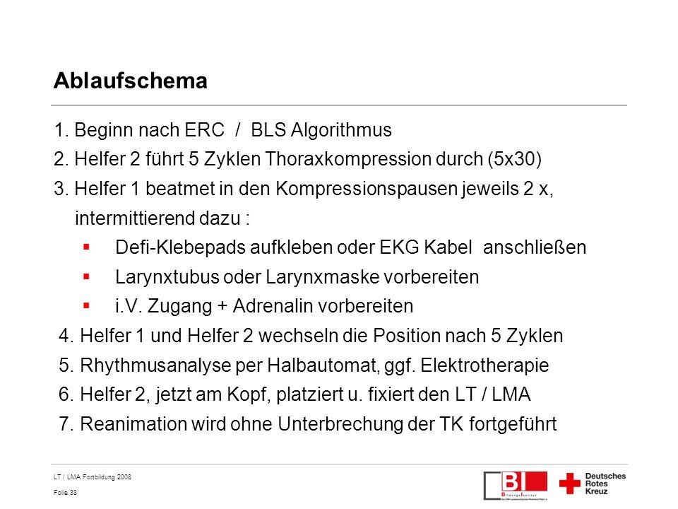 Folie 38 LT / LMA Fortbildung 2008 Ablaufschema 1. Beginn nach ERC / BLS Algorithmus 2. Helfer 2 führt 5 Zyklen Thoraxkompression durch (5x30) 3. Helf