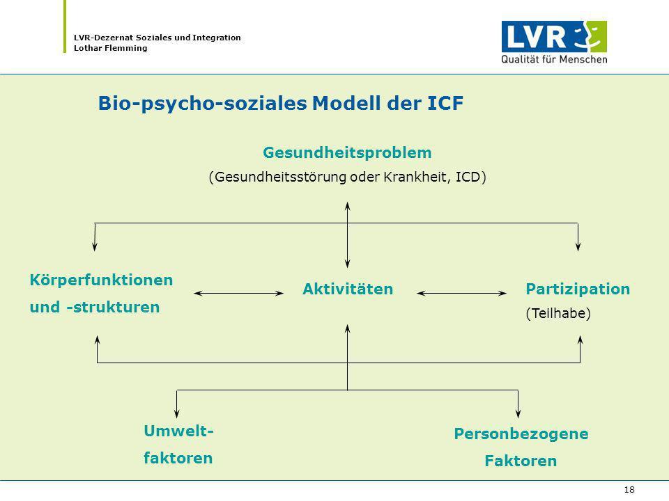 LVR-Dezernat Soziales und Integration Lothar Flemming 18 Bio-psycho-soziales Modell der ICF Körperfunktionen und -strukturen AktivitätenPartizipation