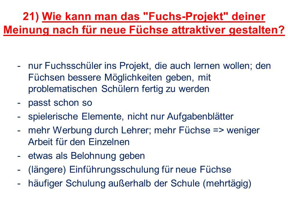 21) Wie kann man das Fuchs-Projekt deiner Meinung nach für neue Füchse attraktiver gestalten.