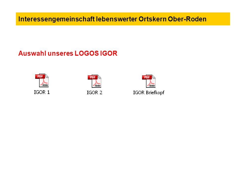 Auswahl unseres LOGOS IGOR Interessengemeinschaft lebenswerter Ortskern Ober-Roden