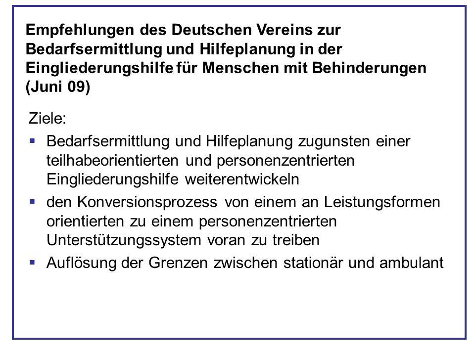 Ziele: Bedarfsermittlung und Hilfeplanung zugunsten einer teilhabeorientierten und personenzentrierten Eingliederungshilfe weiterentwickeln den Konver