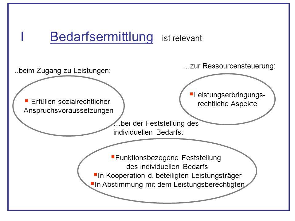 IBedarfsermittlung Erfüllen sozialrechtlicher Anspruchsvoraussetzungen Leistungserbringungs- rechtliche Aspekte..beim Zugang zu Leistungen: …zur Resso