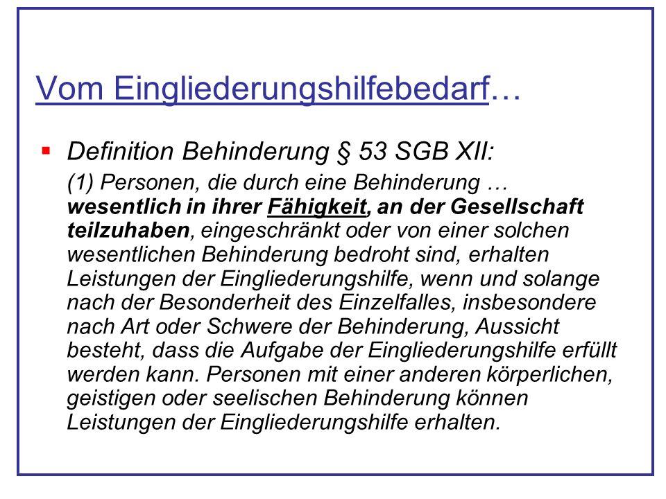 Vom Eingliederungshilfebedarf… Definition Behinderung § 53 SGB XII: (1) Personen, die durch eine Behinderung … wesentlich in ihrer Fähigkeit, an der G