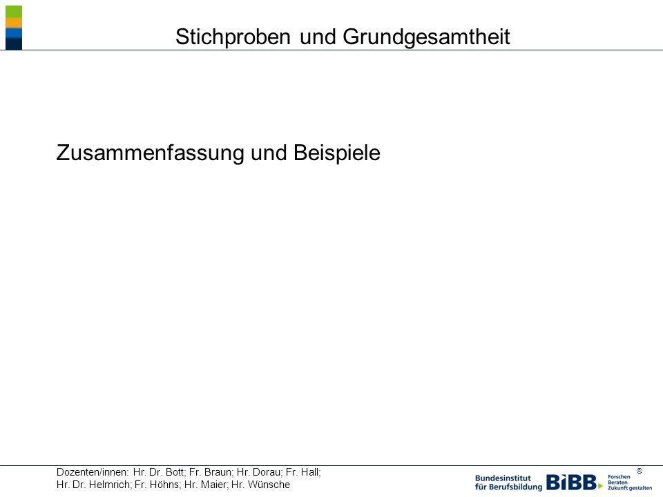 ® Dozenten/innen: Hr. Dr. Bott; Fr. Braun; Hr. Dorau; Fr. Hall; Hr. Dr. Helmrich; Fr. Höhns; Hr. Maier; Hr. Wünsche Zusammenfassung und Beispiele Stic