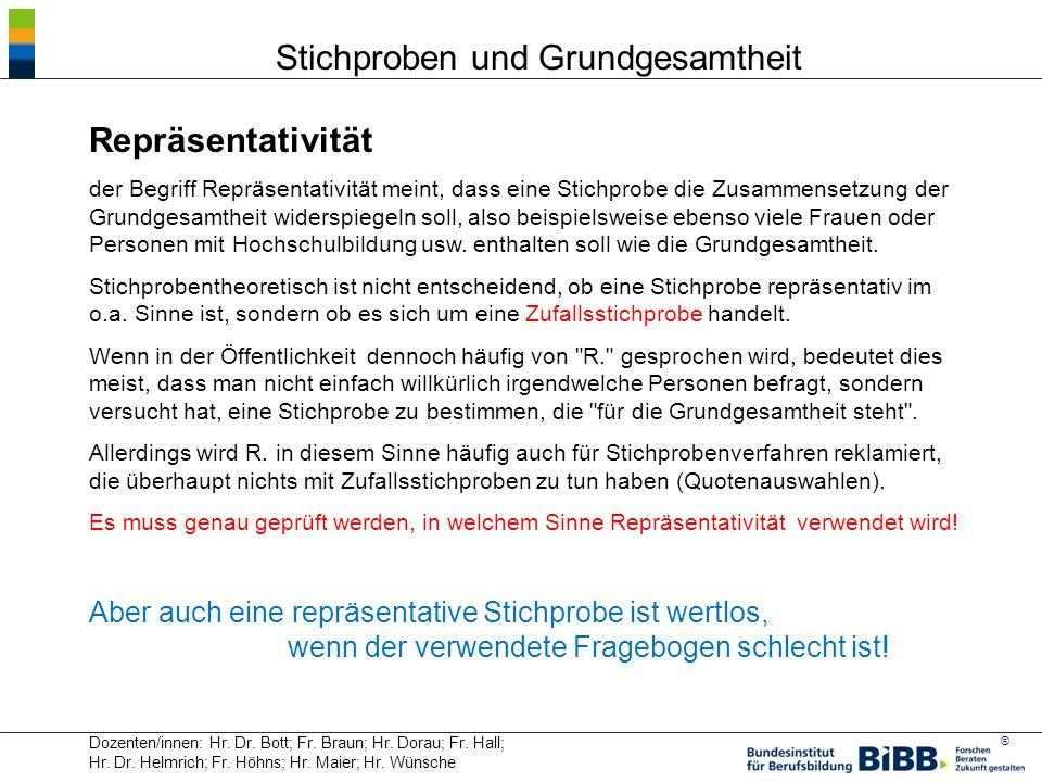 ® Dozenten/innen: Hr. Dr. Bott; Fr. Braun; Hr. Dorau; Fr. Hall; Hr. Dr. Helmrich; Fr. Höhns; Hr. Maier; Hr. Wünsche Stichproben und Grundgesamtheit Re