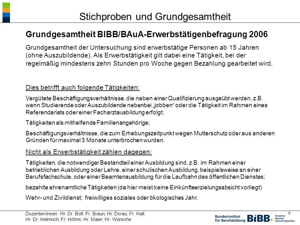 ® Dozenten/innen: Hr. Dr. Bott; Fr. Braun; Hr. Dorau; Fr. Hall; Hr. Dr. Helmrich; Fr. Höhns; Hr. Maier; Hr. Wünsche Grundgesamtheit BIBB/BAuA-Erwerbst