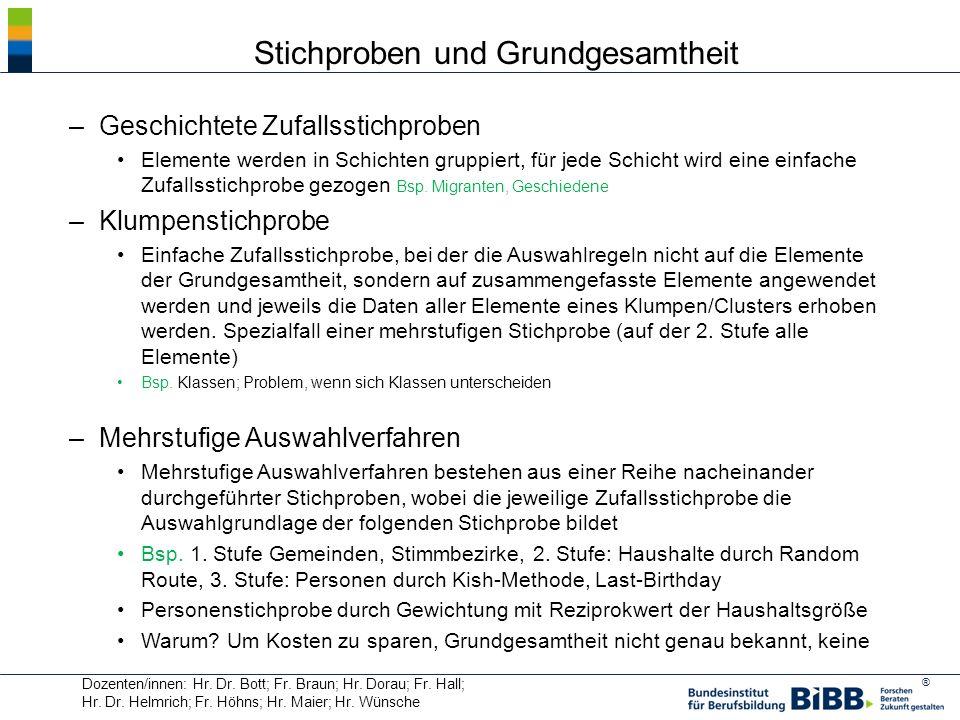 ® Dozenten/innen: Hr. Dr. Bott; Fr. Braun; Hr. Dorau; Fr. Hall; Hr. Dr. Helmrich; Fr. Höhns; Hr. Maier; Hr. Wünsche Stichproben und Grundgesamtheit –G