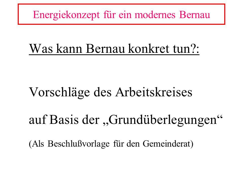 Was kann Bernau konkret tun?: Vorschläge des Arbeitskreises auf Basis der Grundüberlegungen (Als Beschlußvorlage für den Gemeinderat) Energiekonzept f