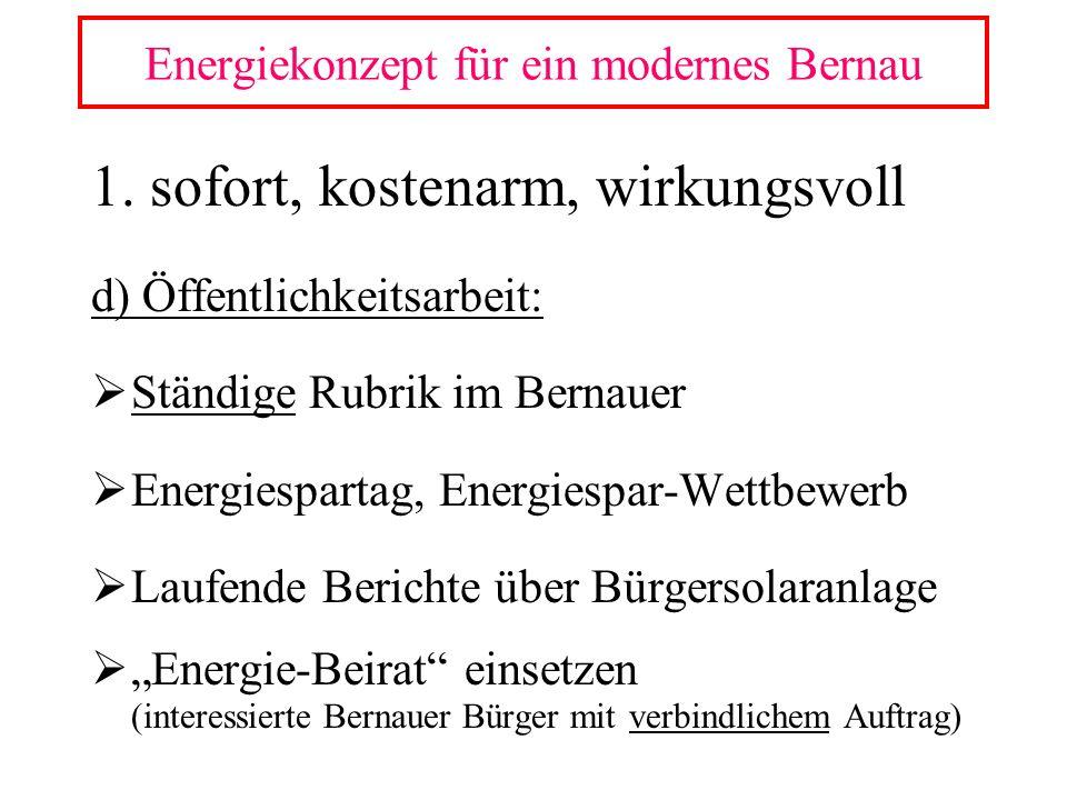 1. sofort, kostenarm, wirkungsvoll d) Öffentlichkeitsarbeit: Ständige Rubrik im Bernauer Energiespartag, Energiespar-Wettbewerb Laufende Berichte über
