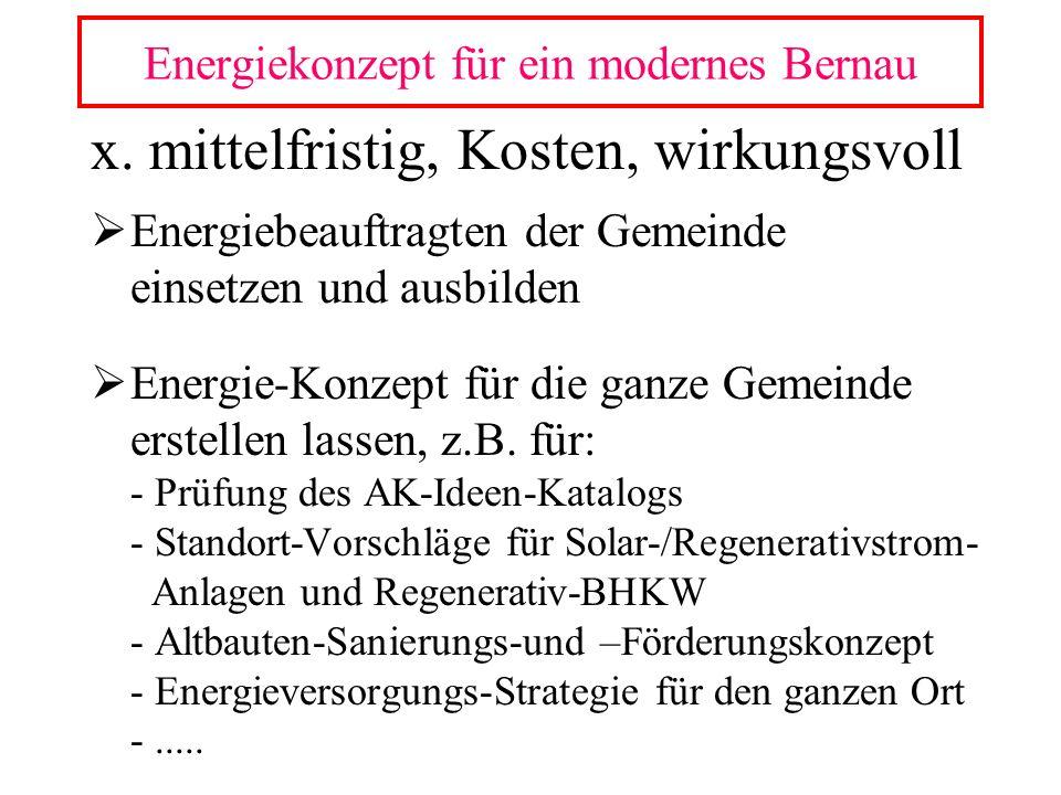 x. mittelfristig, Kosten, wirkungsvoll Energiebeauftragten der Gemeinde einsetzen und ausbilden Energie-Konzept für die ganze Gemeinde erstellen lasse