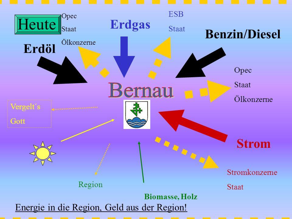Erdöl Opec Staat Ölkonzerne Erdgas ESB Staat Strom Stromkonzerne Staat Benzin/Diesel Opec Staat Ölkonzerne Biomasse, Holz Region Vergelt´s Gott Heute