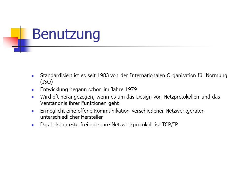 Benutzung Standardisiert ist es seit 1983 von der Internationalen Organisation für Normung (ISO) Entwicklung begann schon im Jahre 1979 Wird oft heran