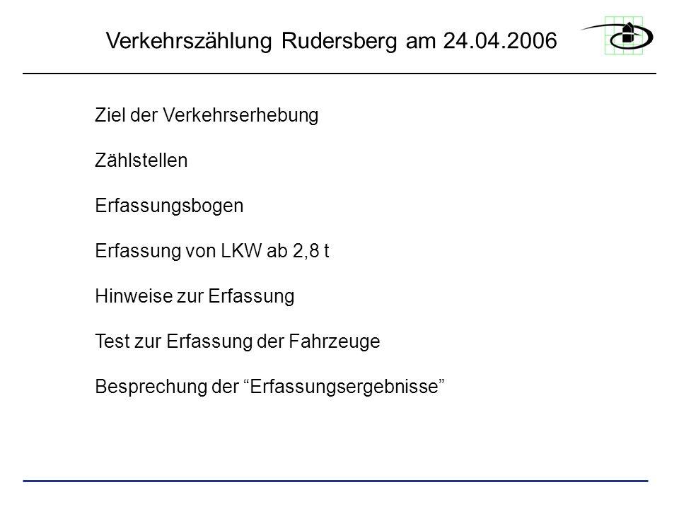 Ziel der Verkehrserhebung Zählstellen Erfassungsbogen Erfassung von LKW ab 2,8 t Hinweise zur Erfassung Test zur Erfassung der Fahrzeuge Besprechung d