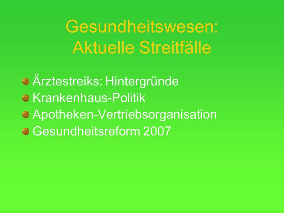 Gesundheitswesen: Aktuelle Streitfälle Ärztestreiks: Hintergründe Krankenhaus-Politik Apotheken-Vertriebsorganisation Gesundheitsreform 2007