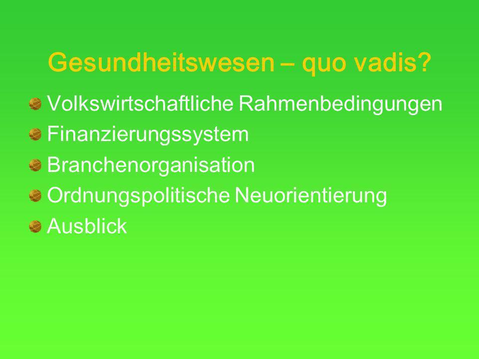 Gesundheitswesen – quo vadis? Volkswirtschaftliche Rahmenbedingungen Finanzierungssystem Branchenorganisation Ordnungspolitische Neuorientierung Ausbl