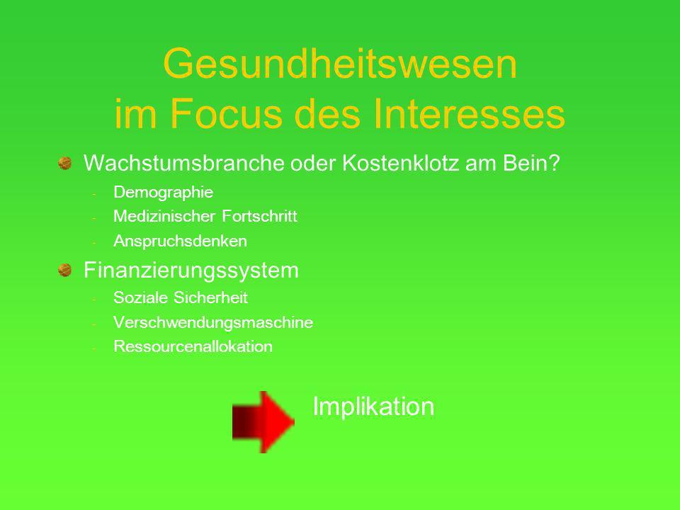 Gesundheitswesen im Focus des Interesses Wachstumsbranche oder Kostenklotz am Bein.