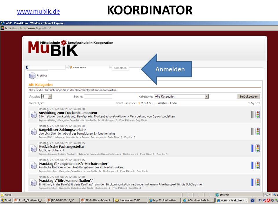 www.mubik.de Anmelden KOORDINATOR