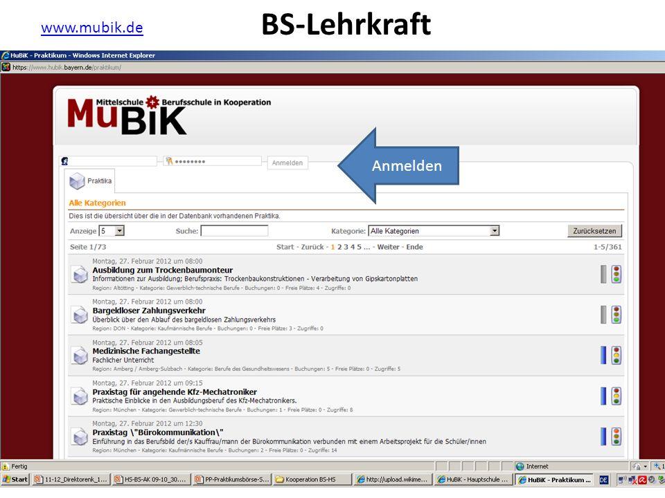www.mubik.de Anmelden BS-Lehrkraft