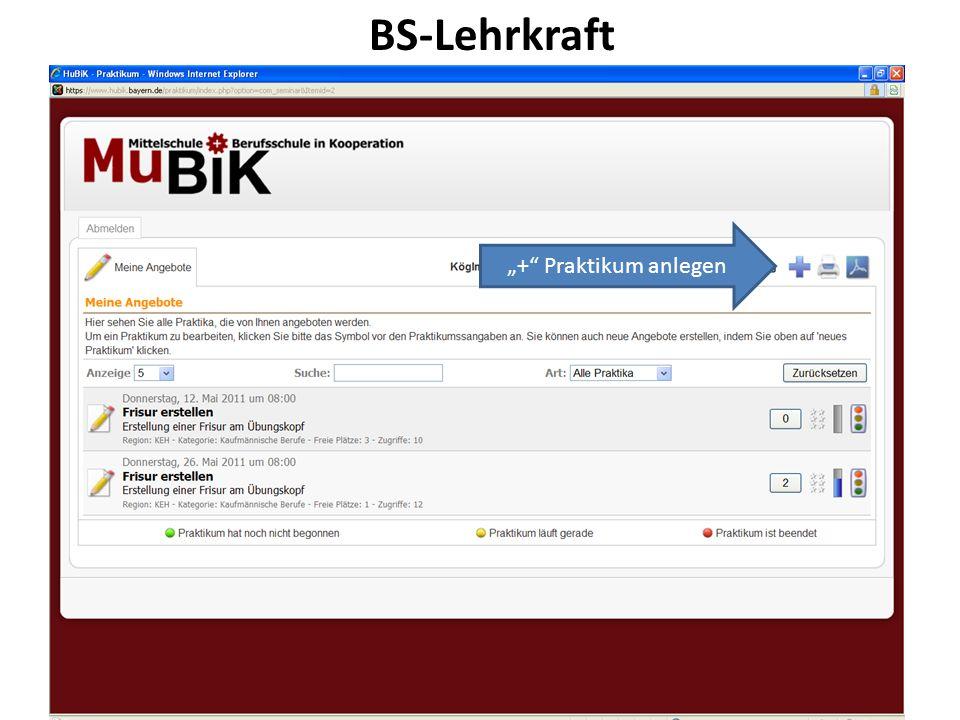 29.12.201325 BS-Lehrkraft + Praktikum anlegen