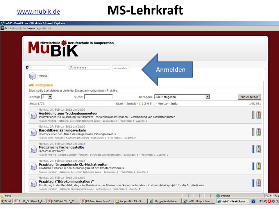 www.mubik.de Anmelden MS-Lehrkraft