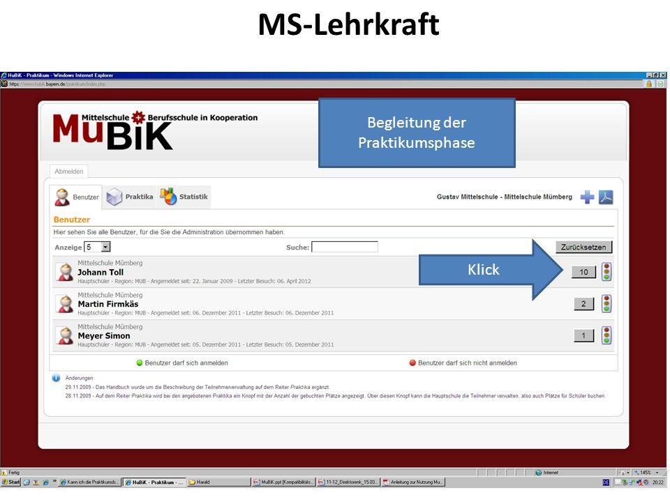 MS-Lehrkraft Begleitung der Praktikumsphase Klick
