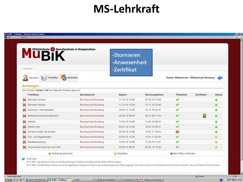 MS-Lehrkraft -Stornieren -Anwesenheit -Zertifikat