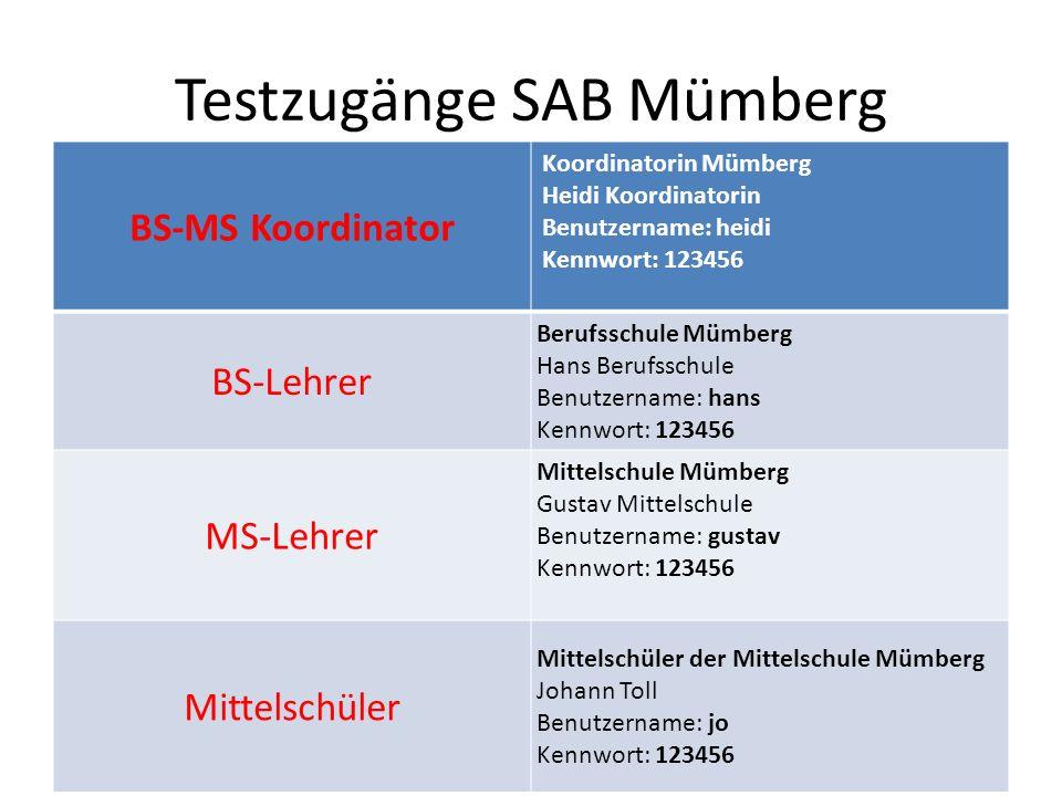 Testzugänge SAB Mümberg BS-MS Koordinator Koordinatorin Mümberg Heidi Koordinatorin Benutzername: heidi Kennwort: 123456 BS-Lehrer Berufsschule Mümber