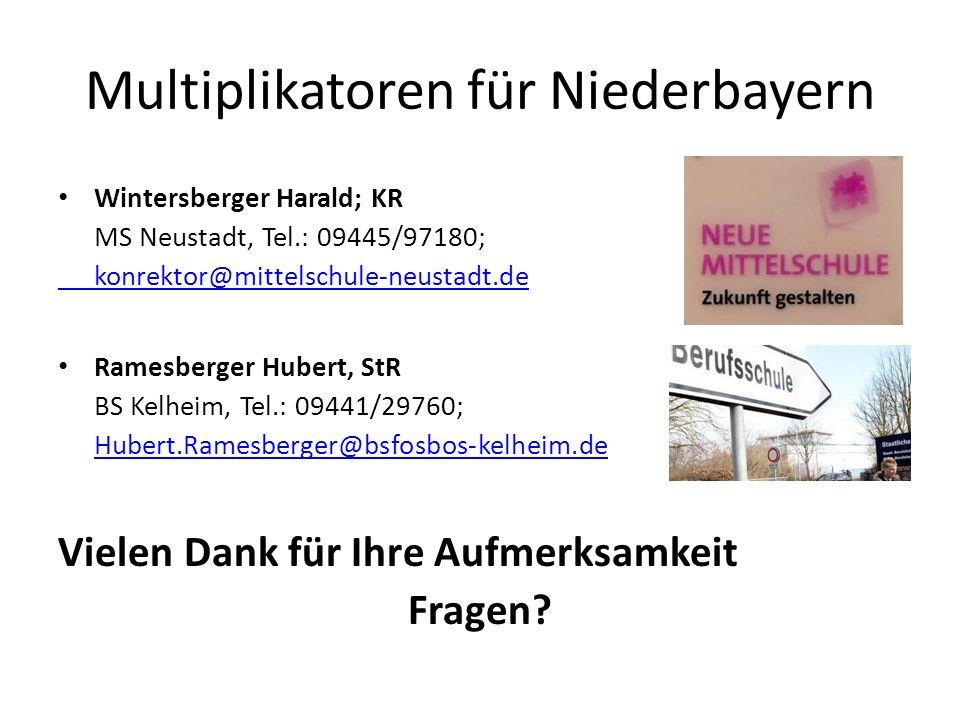 Multiplikatoren für Niederbayern Wintersberger Harald; KR MS Neustadt, Tel.: 09445/97180; konrektor@mittelschule-neustadt.de Ramesberger Hubert, StR B