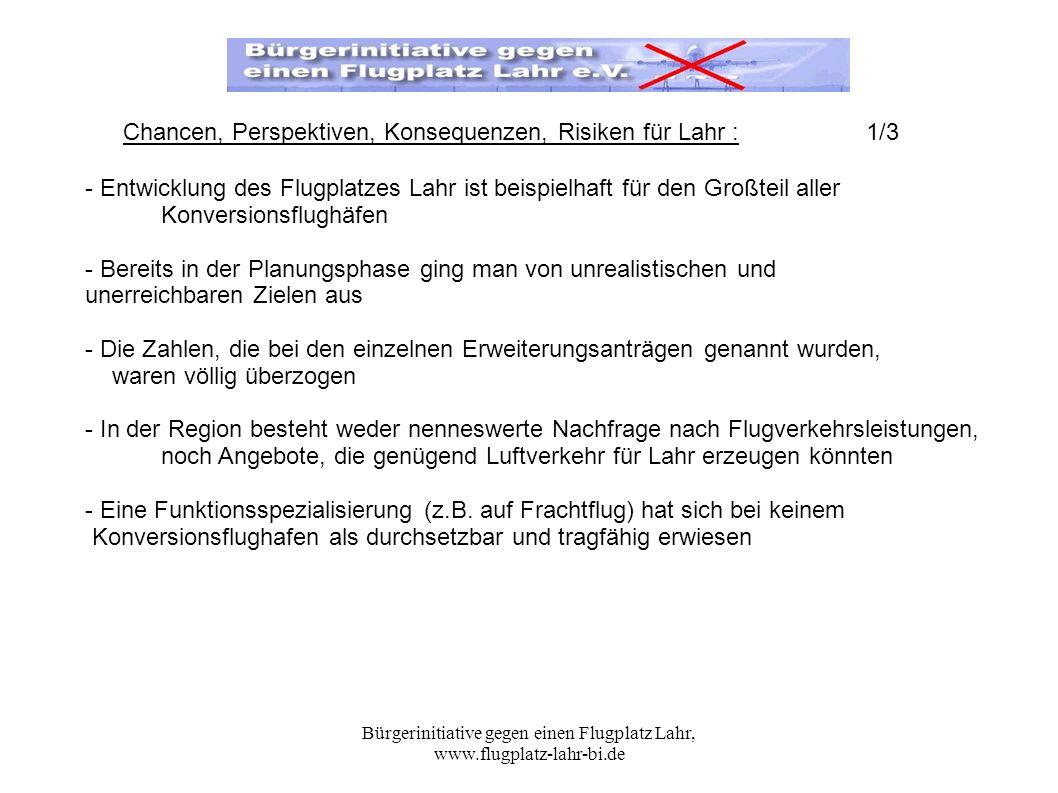 Bürgerinitiative gegen einen Flugplatz Lahr, www.flugplatz-lahr-bi.de - Entwicklung des Flugplatzes Lahr ist beispielhaft für den Großteil aller Konve