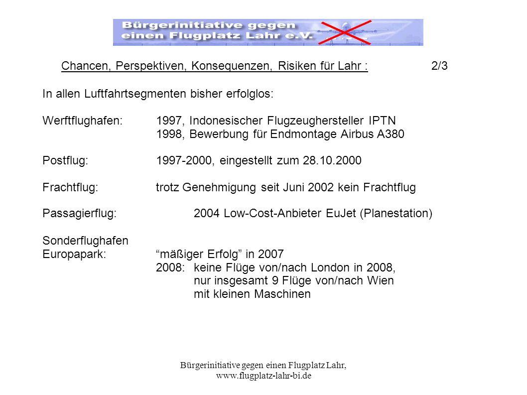 Bürgerinitiative gegen einen Flugplatz Lahr, www.flugplatz-lahr-bi.de In allen Luftfahrtsegmenten bisher erfolglos: Werftflughafen: 1997, Indonesische