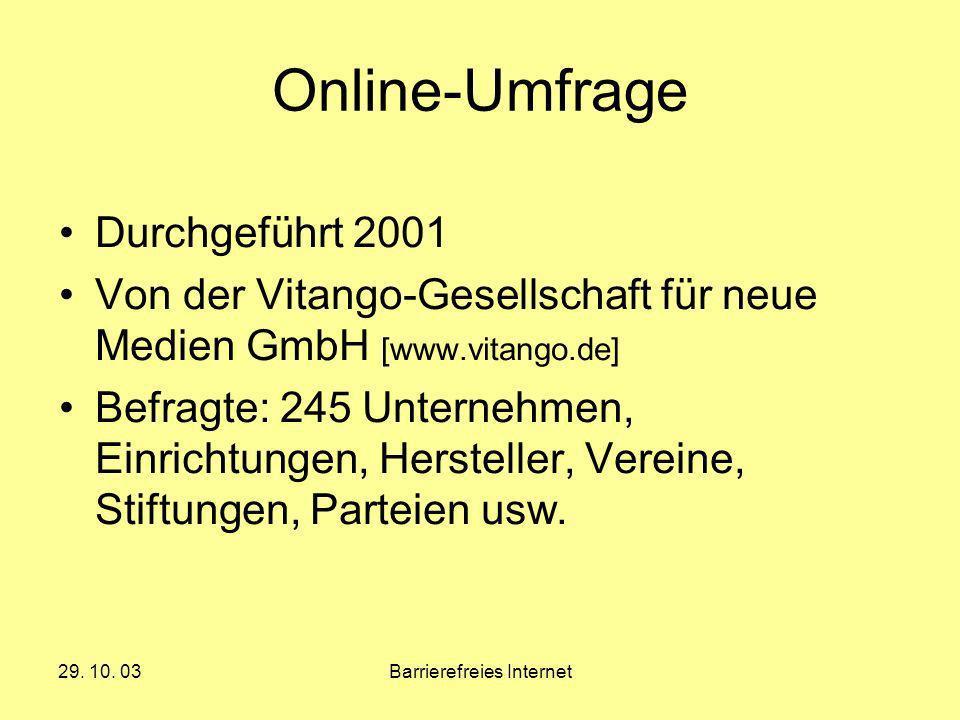 29. 10. 03Barrierefreies Internet Online-Umfrage Durchgeführt 2001 Von der Vitango-Gesellschaft für neue Medien GmbH [www.vitango.de] Befragte: 245 Un