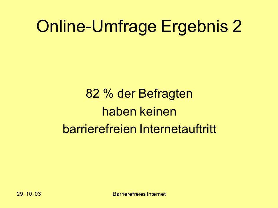 29. 10. 03Barrierefreies Internet Online-Umfrage Ergebnis 2 82 % der Befragten haben keinen barrierefreien Internetauftritt