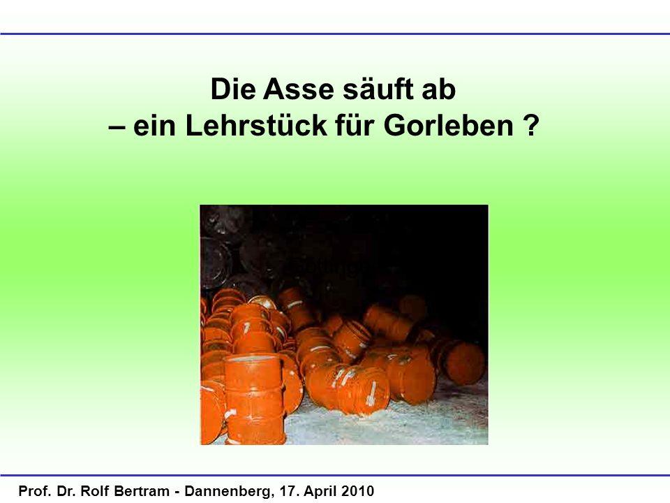 Prof. Dr. Rolf Bertram - Dannenberg, 17. April 2010 Die Asse säuft ab – ein Lehrstück für Gorleben ? Göttingen