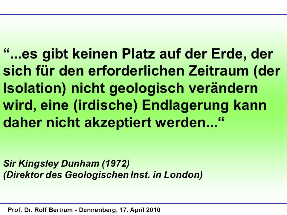 Prof. Dr. Rolf Bertram - Dannenberg, 17. April 2010...es gibt keinen Platz auf der Erde, der sich für den erforderlichen Zeitraum (der Isolation) nich