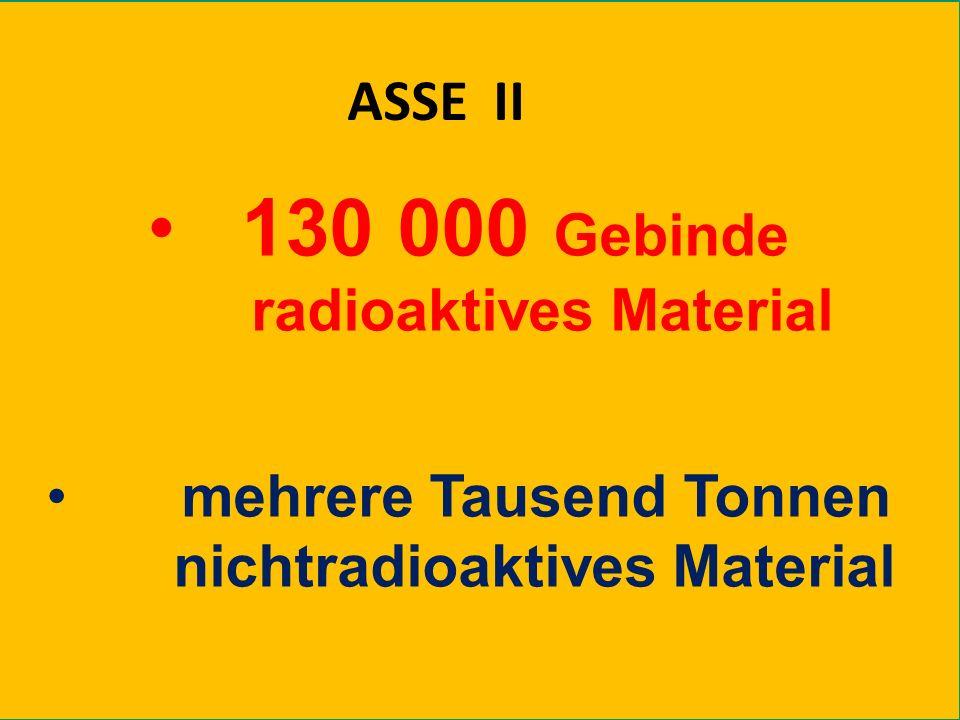 Prof. Dr. Rolf Bertram - Dannenberg, 17. April 2010 130 000 Gebinde radioaktives Material mehrere Tausend Tonnen nichtradioaktives Material ASSE II