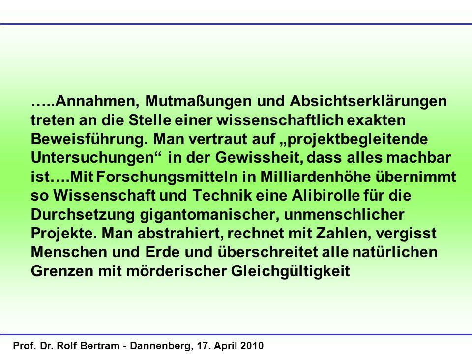 Prof. Dr. Rolf Bertram - Dannenberg, 17. April 2010 …..Annahmen, Mutmaßungen und Absichtserklärungen treten an die Stelle einer wissenschaftlich exakt