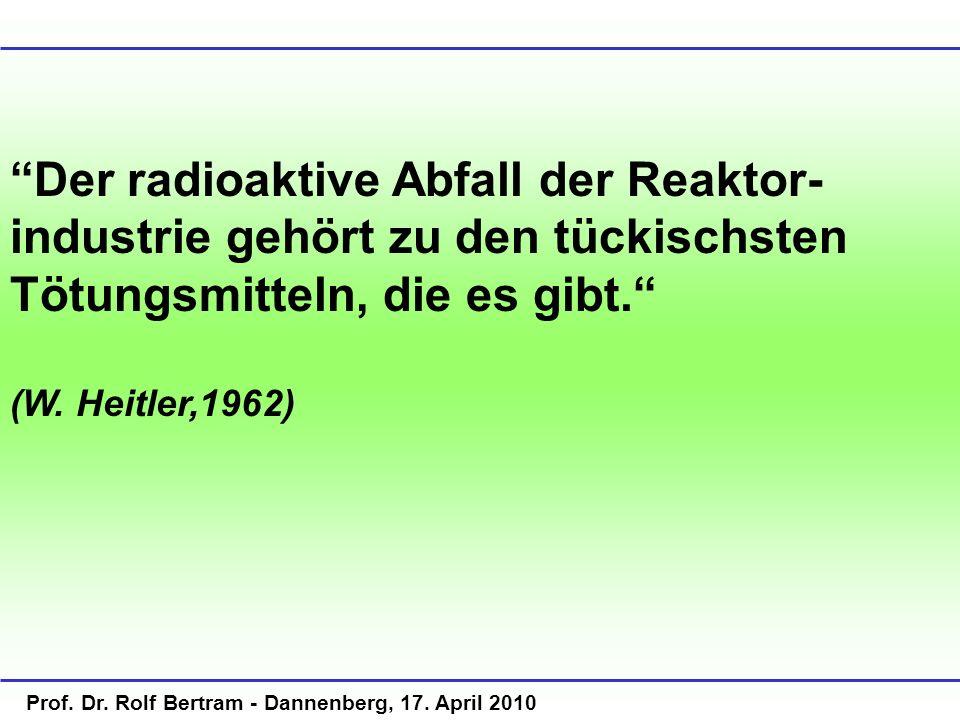 Der radioaktive Abfall der Reaktor- industrie gehört zu den tückischsten Tötungsmitteln, die es gibt. (W. Heitler,1962)