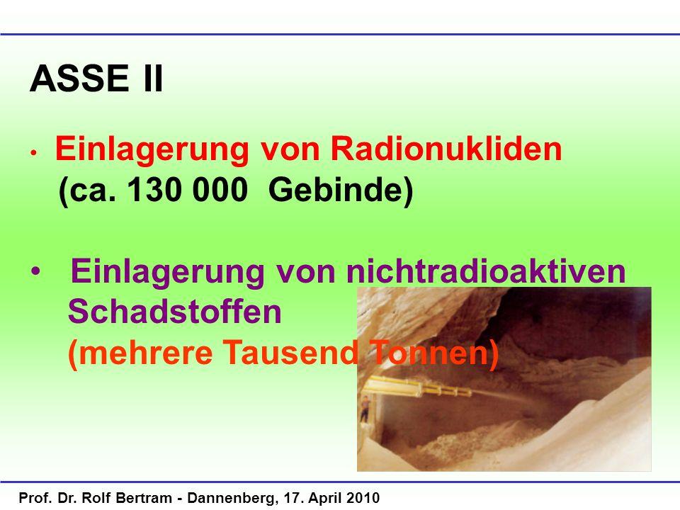 Prof. Dr. Rolf Bertram - Dannenberg, 17. April 2010 ASSE II Einlagerung von Radionukliden (ca. 130 000 Gebinde) Einlagerung von nichtradioaktiven Scha
