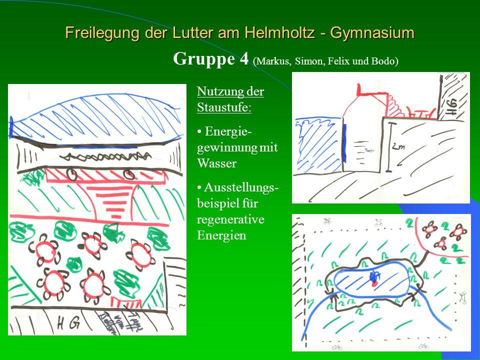 Freilegung der Lutter am Helmholtz - Gymnasium Gruppe 4 (Markus, Simon, Felix und Bodo) Nutzung der Staustufe: Energie- gewinnung mit Wasser Ausstellu