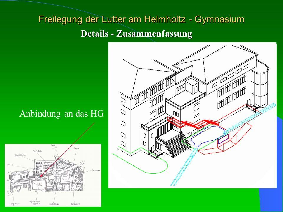 Freilegung der Lutter am Helmholtz - Gymnasium Details - Zusammenfassung Anbindung an das HG