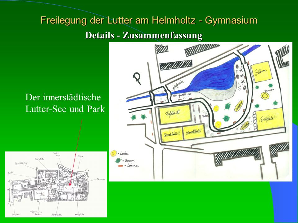 Freilegung der Lutter am Helmholtz - Gymnasium Details - Zusammenfassung Der innerstädtische Lutter-See und Park