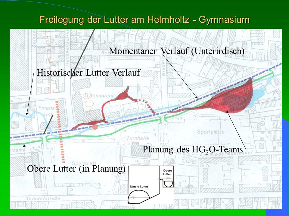 Freilegung der Lutter am Helmholtz - Gymnasium Historischer Lutter Verlauf Momentaner Verlauf (Unterirdisch) Obere Lutter (in Planung) Planung des HG