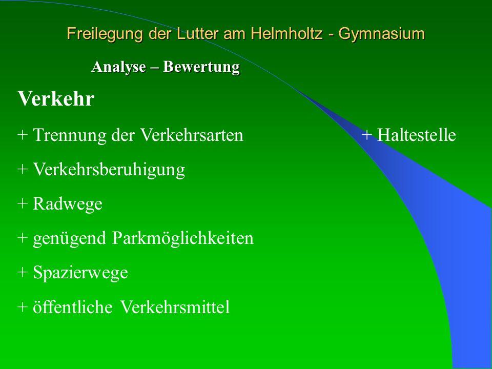 Freilegung der Lutter am Helmholtz - Gymnasium Analyse – Bewertung Verkehr + Trennung der Verkehrsarten+ Haltestelle + Verkehrsberuhigung + Radwege +